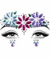 Carnavalskleding gezicht juwelen sieraden hippie flower power sticker set