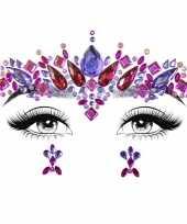 Carnavalskleding gezicht juwelen sieraden sticker set