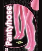 Carnavalskleding glanzende roze panty denier