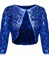 Carnavalskleding glitter pailletten bolero blauw dames