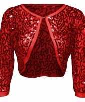 Carnavalskleding glitter pailletten bolero rood dames