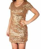 Carnavalskleding glitter pailletten stretch jurkje goud dames