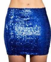 Carnavalskleding glitter pailletten stretch rokje blauw dames