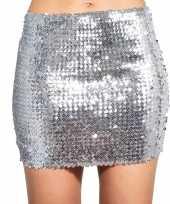 Carnavalskleding glitter pailletten stretch rokje zilver dames