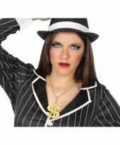 Carnavalskleding gouden bling bling verkleed ketting dollar teken