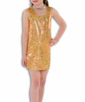 Carnavalskleding gouden glitter jurk meisjes