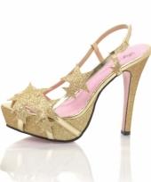 Carnavalskleding gouden hoge hakken glitter