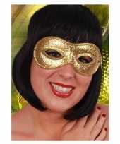 Carnavalskleding gouden oogmasker glitters