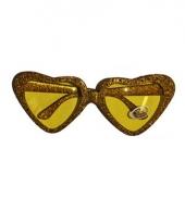 Carnavalskleding gouden party bril hartvormig