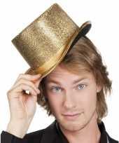 Carnavalskleding gouden party hoed glitters