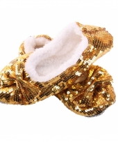 Carnavalskleding gouden sloffen pailletten