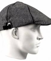 Carnavalskleding grijze linnen flat cap pet heren