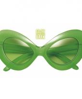Carnavalskleding groene alien brillen