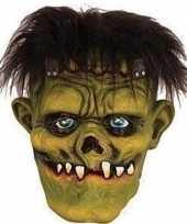 Carnavalskleding groene frankenstein horror halloween masker latex