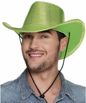 Carnavalskleding groene glitter cowboyhoed wilde westen verkleedaccessoire