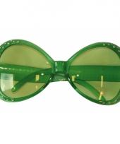 Carnavalskleding groene glitter zonnebril