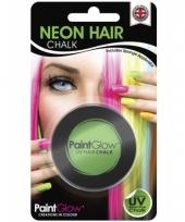 Carnavalskleding groene uv hairchalk