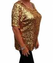 Carnavalskleding grote maten glitter pailletten shirt goud dames xl