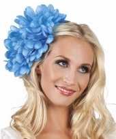 Carnavalskleding haaraccessoire blauwe dahlia bloem clip