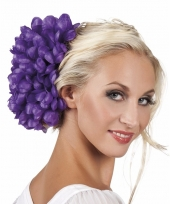Carnavalskleding haaraccessoire paarse dahlia bloem clip