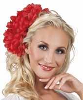 Carnavalskleding haaraccessoire rode dahlia bloem clip