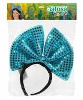 Carnavalskleding haarband grote strik blauw pailletten dames