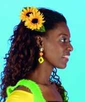 Carnavalskleding haarspeld zonnebloemen
