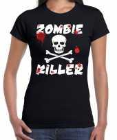Carnavalskleding halloween zombie killer shirt zwart dames zombie killer bedrukking