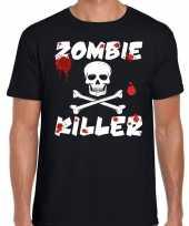 Carnavalskleding halloween zombie killer shirt zwart heren zombie killer bedrukking