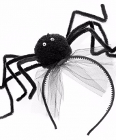 Carnavalskleding halloween zwarte diadeem spin
