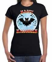Carnavalskleding happy halloween horror vleermuis shirt zwart dames