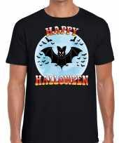 Carnavalskleding happy halloween vleermuizen horror shirt zwart heren