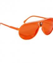 Carnavalskleding hippe supportersbril oranje