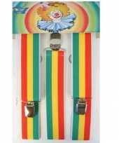 Carnavalskleding hippie bretels rood geel groen