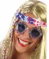Carnavalskleding hippie feestbril blauwe glazen volwassenen