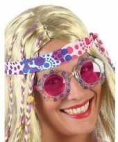 Carnavalskleding hippie feestbril roze glazen volwassenen