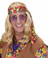 Carnavalskleding hippie pruik blond haar