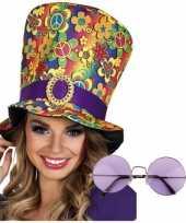 Carnavalskleding hippie verkleed accessoires hoed bril