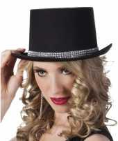 Carnavalskleding hoge verkleedhoed zwart zilver dames