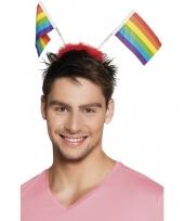 Carnavalskleding hoofdband regenboogvlag