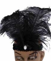 Carnavalskleding hoofdband zwarte veren