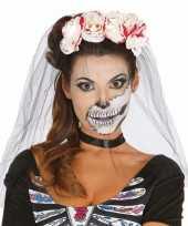 Carnavalskleding horror haarband rozen sluier