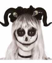 Carnavalskleding horror haarband zwarte hoorns doodshoofden