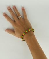 Carnavalskleding houten kralen armband rood geel groen