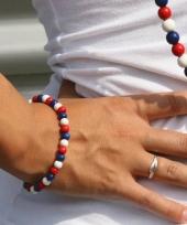 Carnavalskleding houten kralen armband rood wit blauw