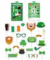 Carnavalskleding ierse groene foto accessoires een stokje