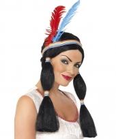 Carnavalskleding indianenpruik dames staart