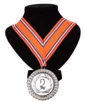 Carnavalskleding kampioensmedaille nr oranje rood wit blauw 10091798