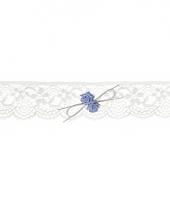 Carnavalskleding kanten kousenband blauwe roosjes