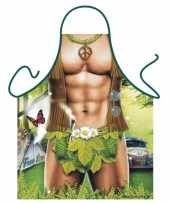 Carnavalskleding keukenschort hippie man